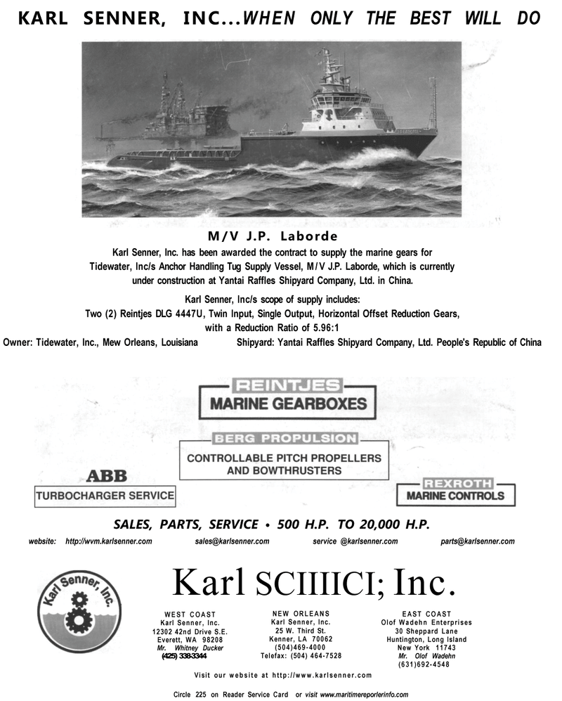 Maritime Reporter Magazine, page 4th Cover,  Dec 2001