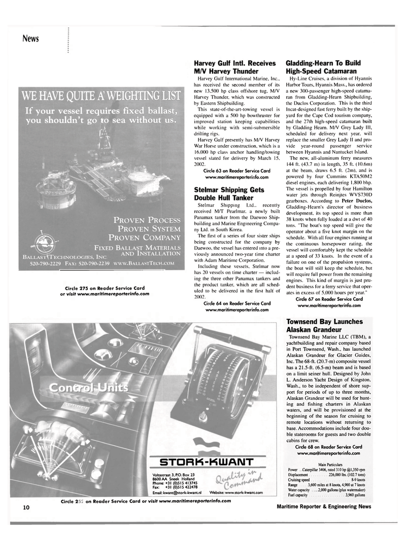 Maritime Reporter Magazine, page 10,  Mar 2002