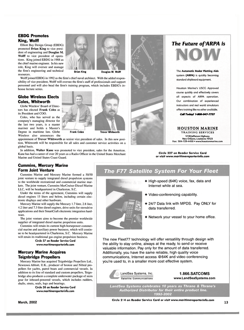 Maritime Reporter Magazine, page 13,  Mar 2002 Fleet77 technology