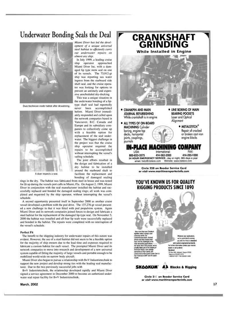 Maritime Reporter Magazine, page 17,  Mar 2002 sealing rings
