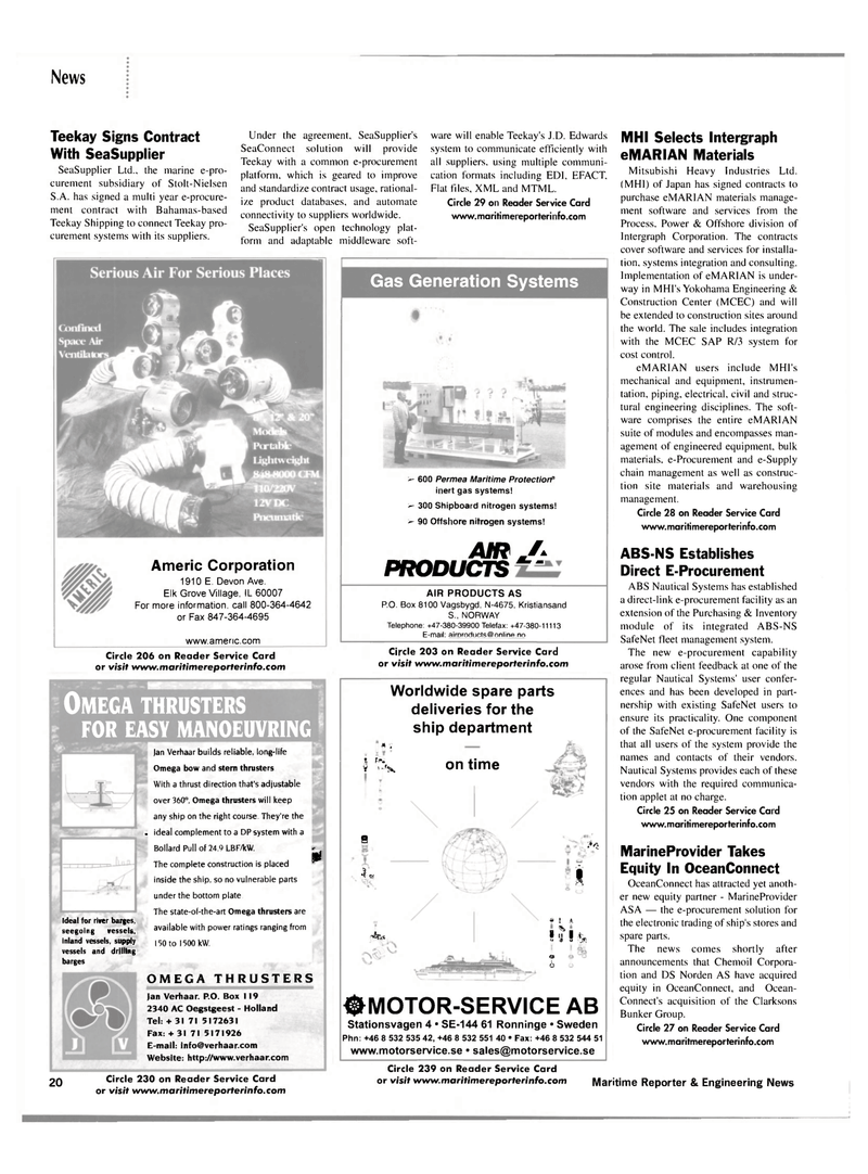 Maritime Reporter Magazine, page 20,  Mar 2002 SeaConnect solution