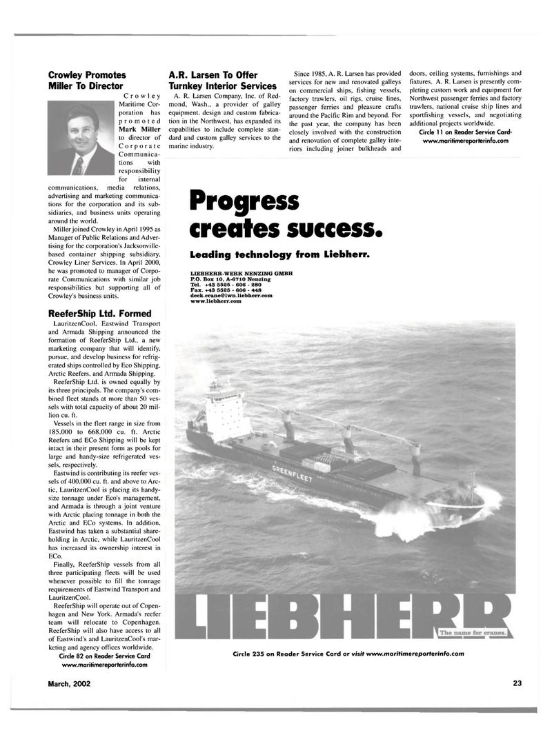 Maritime Reporter Magazine, page 23,  Mar 2002 Washington