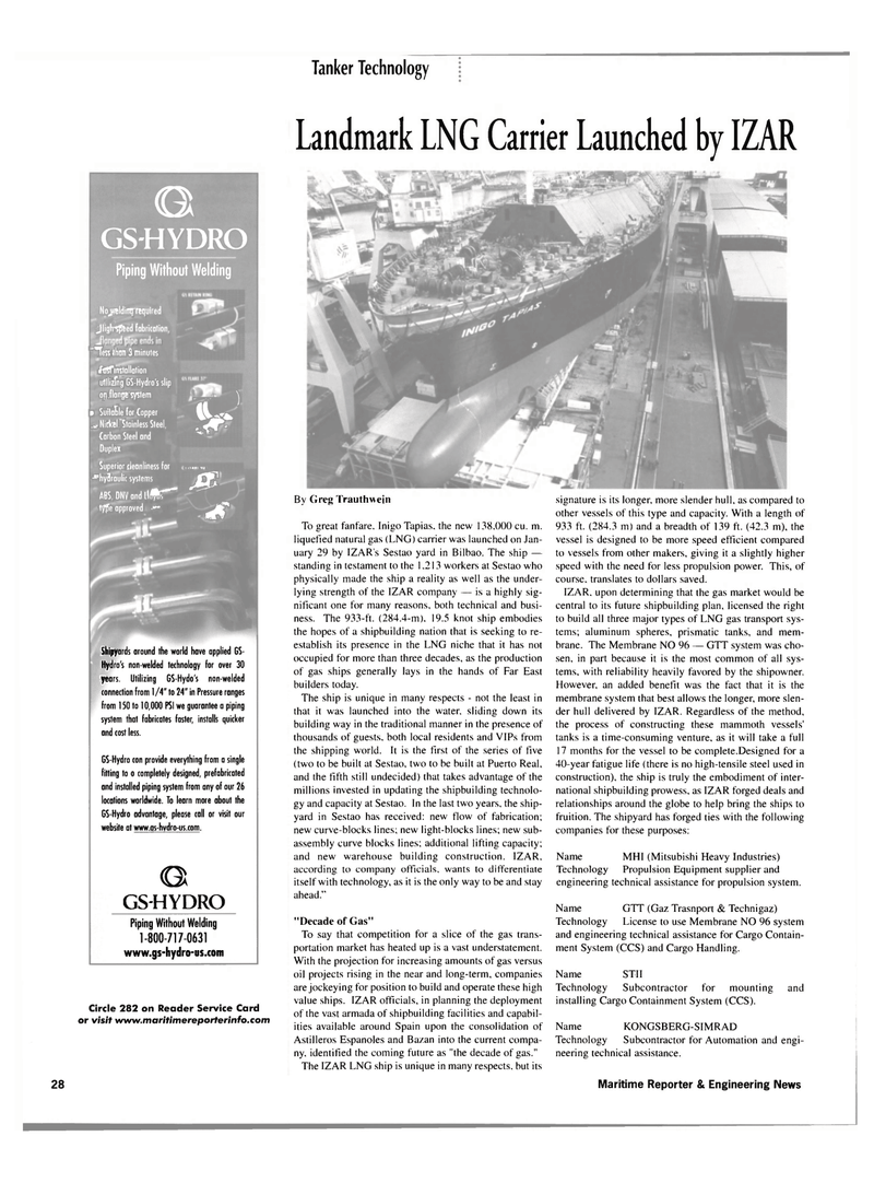 Maritime Reporter Magazine, page 28,  Mar 2002 non-welded technology
