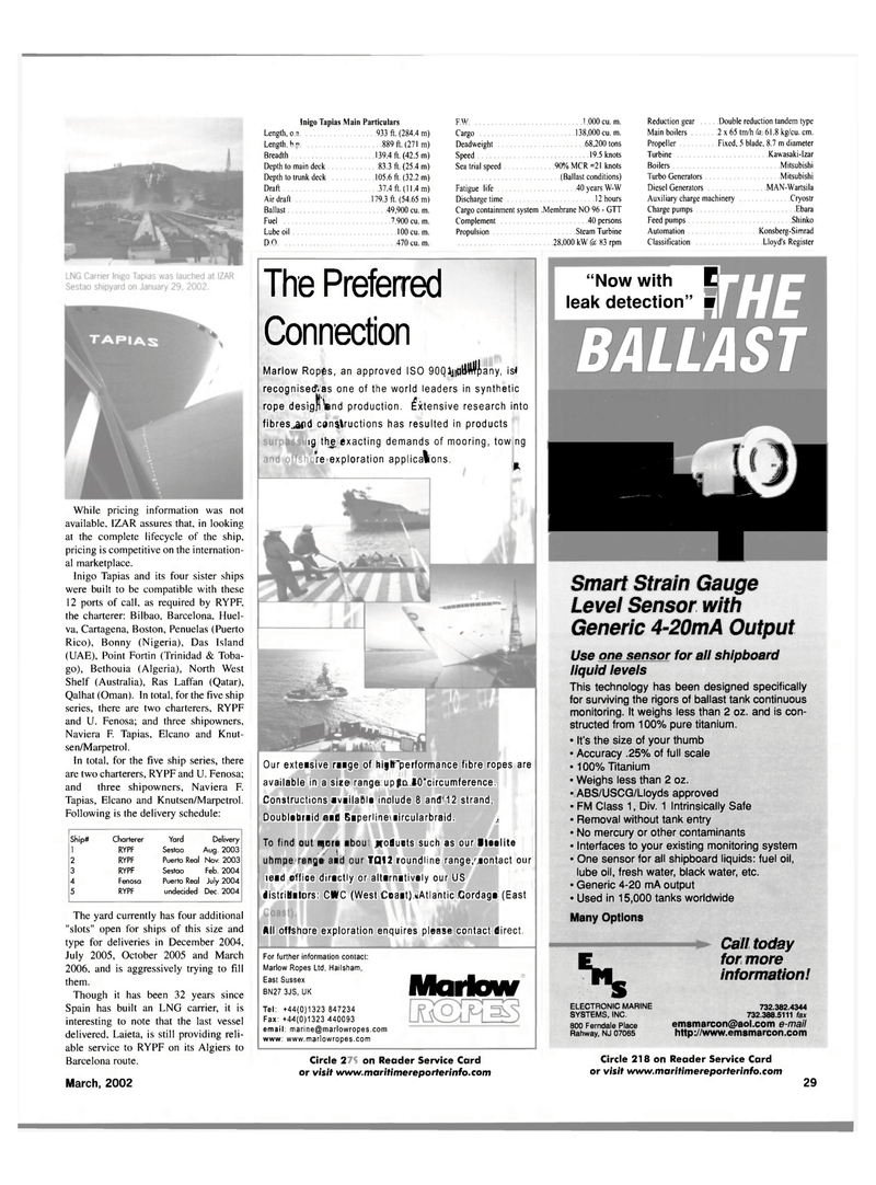 Maritime Reporter Magazine, page 29,  Mar 2002 New Jersey