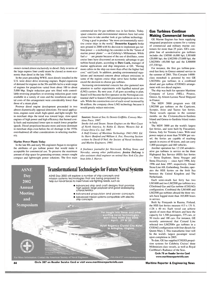 Maritime Reporter Magazine, page 44,  Mar 2002 mission systems technologies