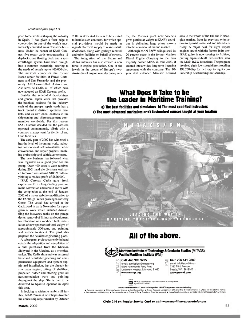 Maritime Reporter Magazine, page 53,  Mar 2002 Maritime Education & Training Center