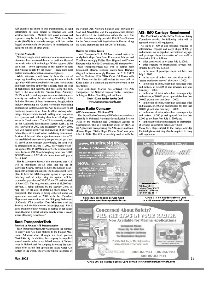 Maritime Reporter Magazine, page 21,  May 2002