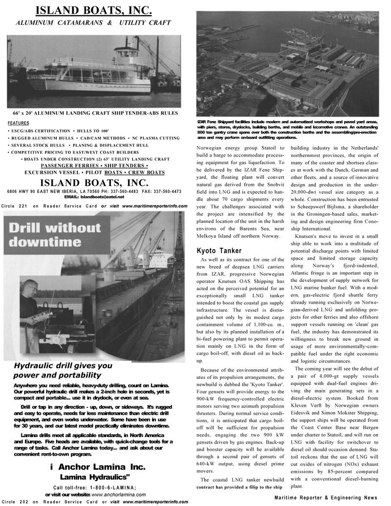 Maritime Reporter Magazine, page 20,  Dec 2002