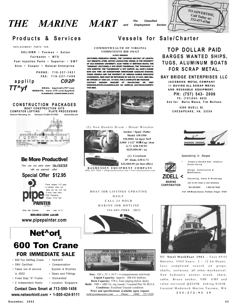 Maritime Reporter Magazine, page 43,  Dec 2002