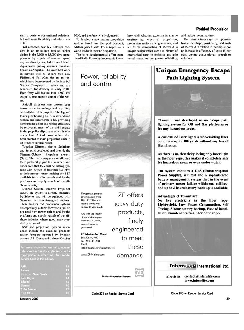 Maritime Reporter Magazine, page 39,  Feb 2003