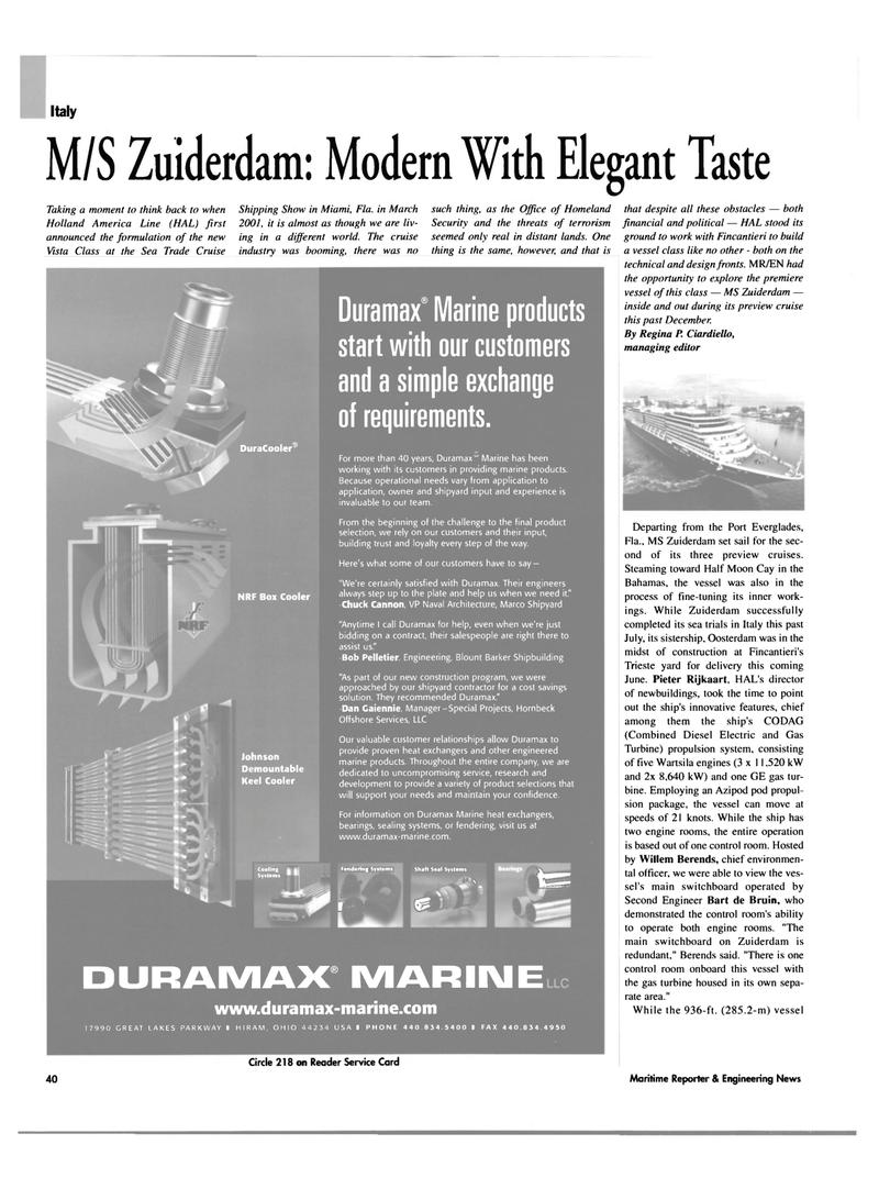 Maritime Reporter Magazine, page 40,  Feb 2003