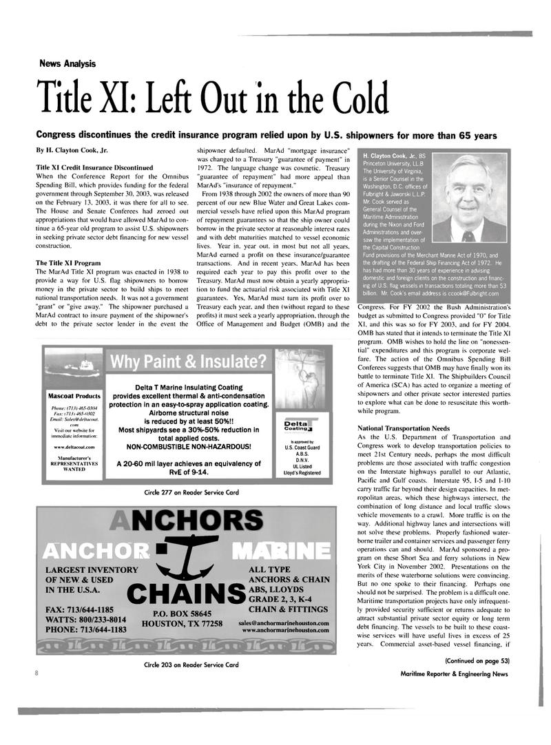 Maritime Reporter Magazine, page 8,  Mar 2003