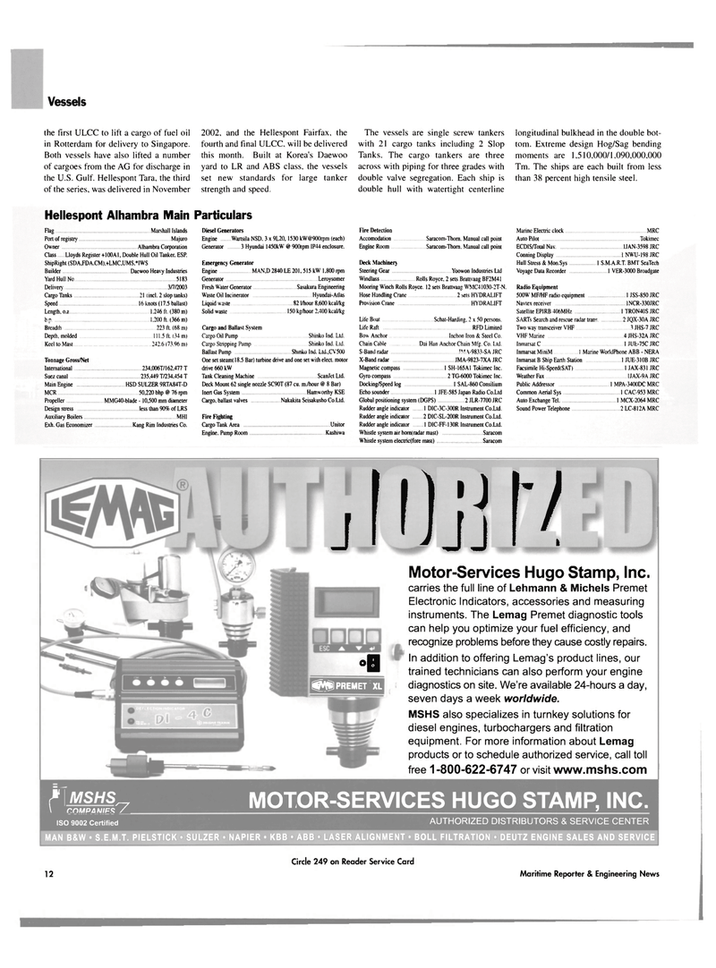 Maritime Reporter Magazine, page 12,  Mar 2003 S.M.A.R.T.