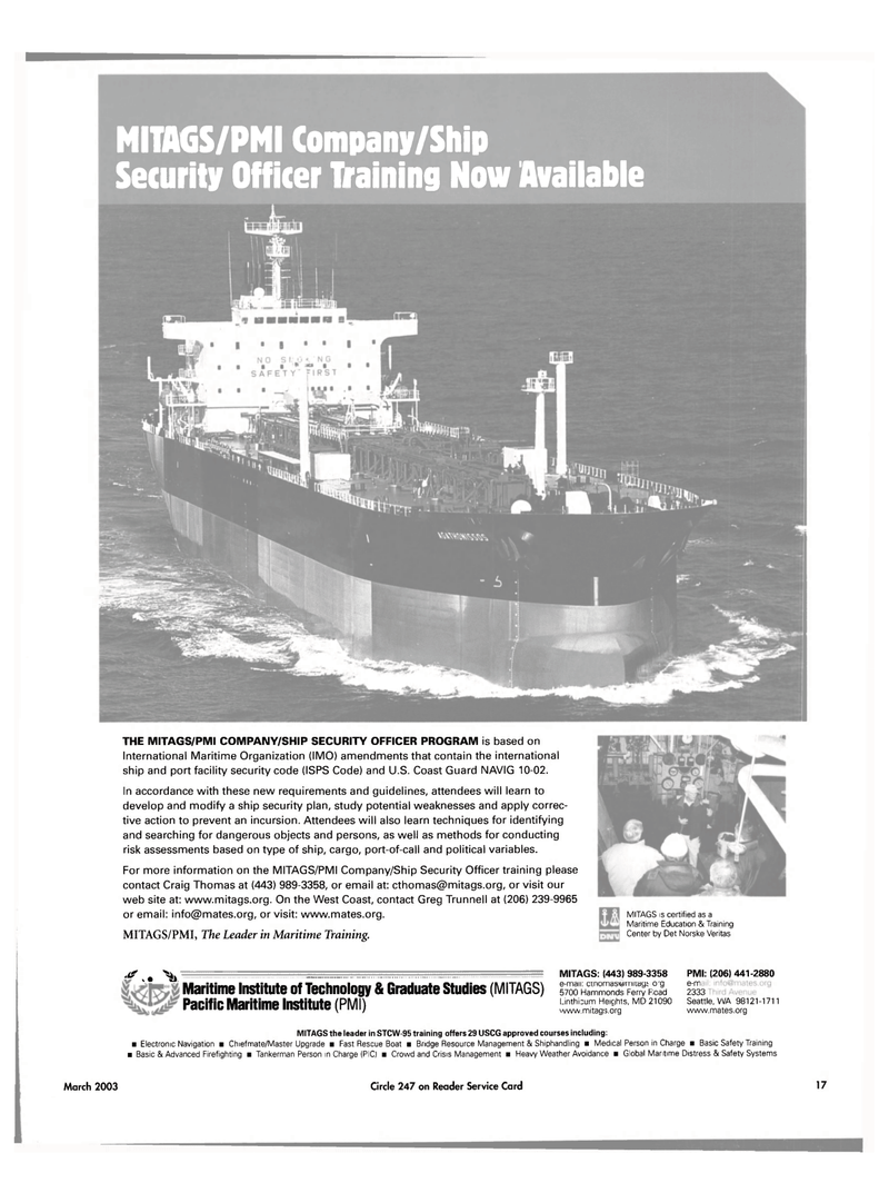 Maritime Reporter Magazine, page 17,  Mar 2003 Greg Trunnell