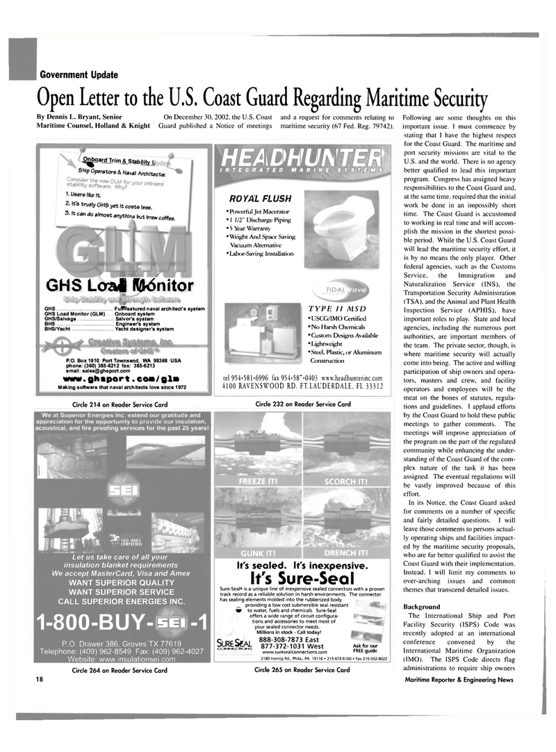 Maritime Reporter Magazine, page 18,  Mar 2003 Dennis L. Bryant