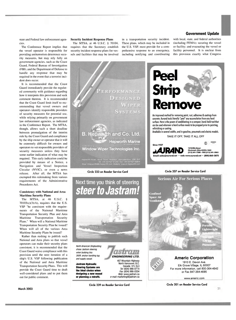 Maritime Reporter Magazine, page 21,  Mar 2003 Ohio