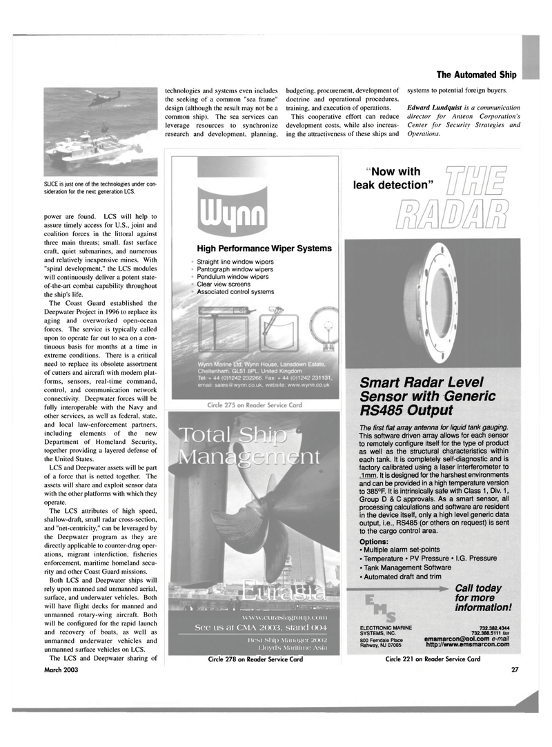 Maritime Reporter Magazine, page 27,  Mar 2003 New Jersey