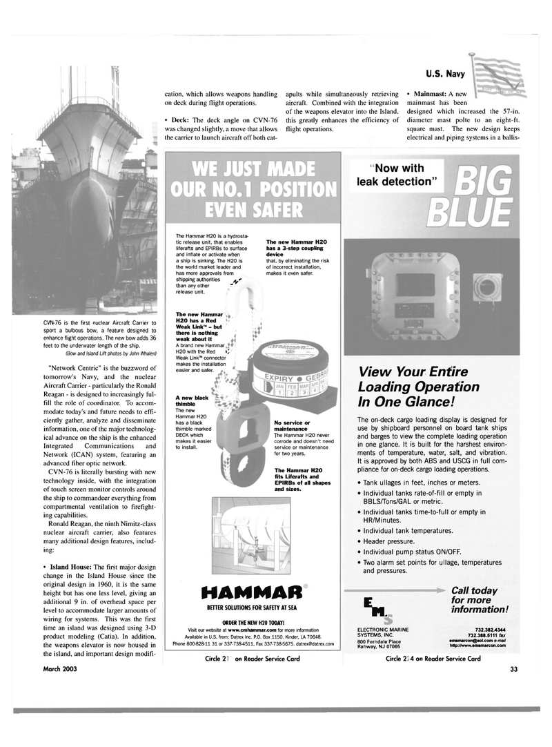 Maritime Reporter Magazine, page 33,  Mar 2003 New Jersey