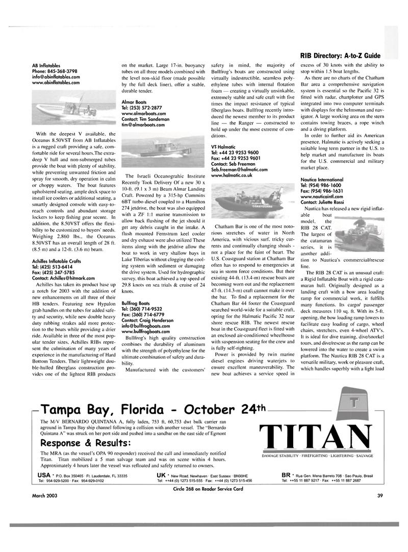 Maritime Reporter Magazine, page 39,  Mar 2003 Tim Sandeman