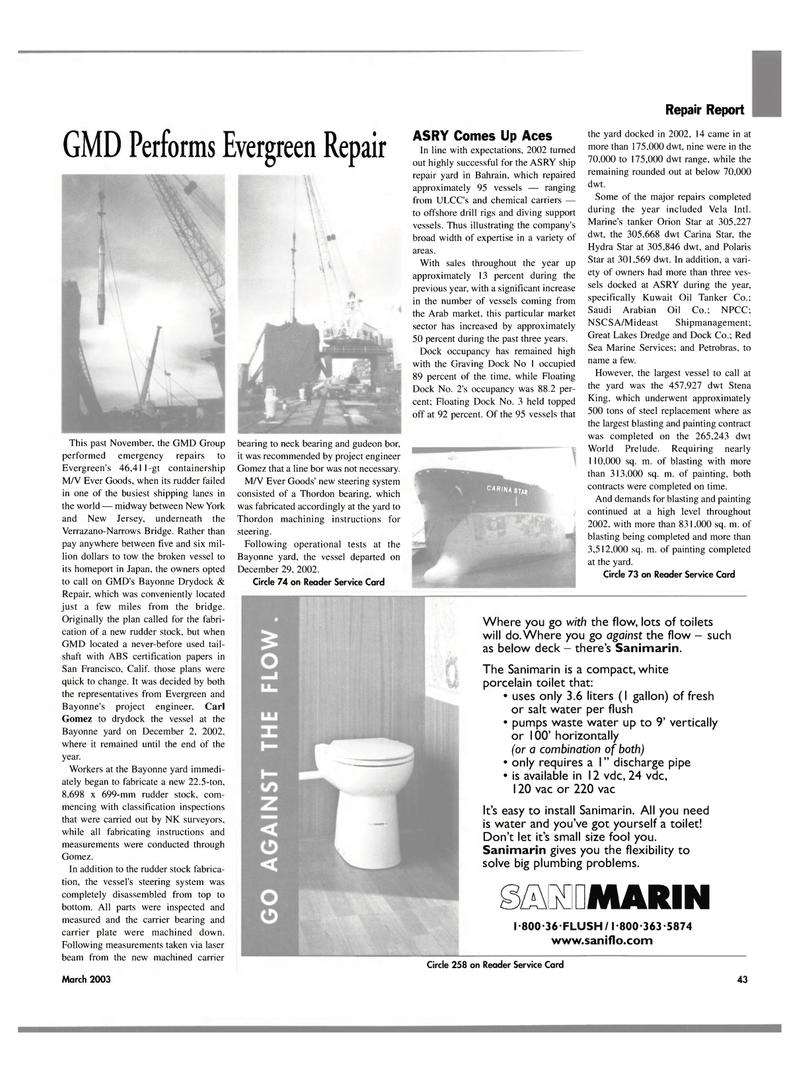 Maritime Reporter Magazine, page 43,  Mar 2003