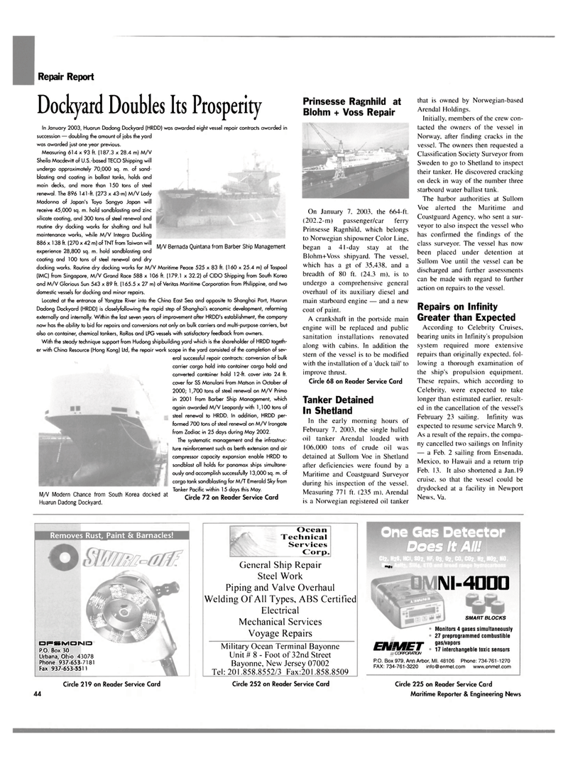 Maritime Reporter Magazine, page 44,  Mar 2003 Ohio