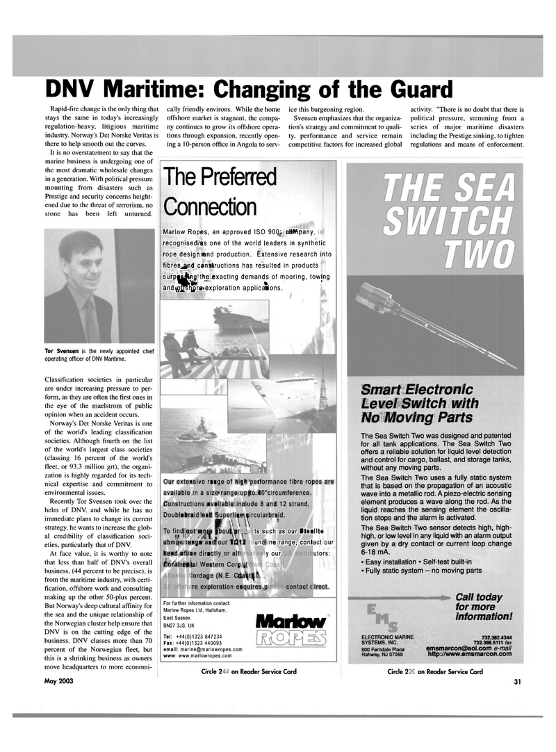 Maritime Reporter Magazine, page 31,  May 2003