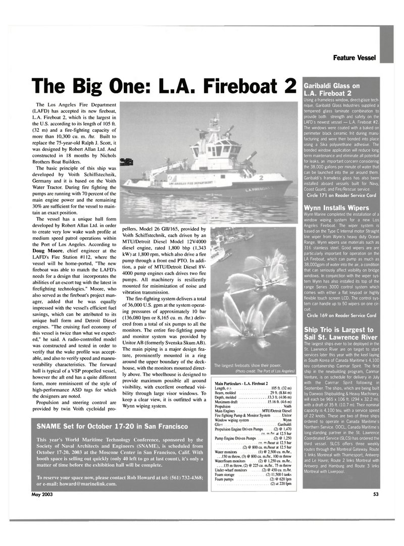 Maritime Reporter Magazine, page 53,  May 2003