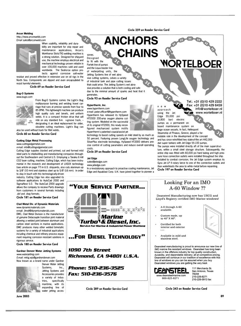 Maritime Reporter Magazine, page 89,  Jun 2003