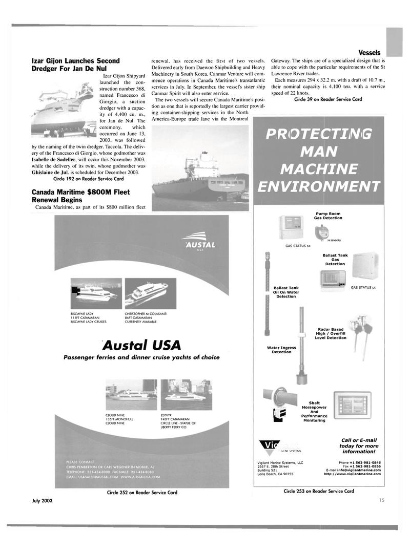 Maritime Reporter Magazine, page 15,  Jul 2003