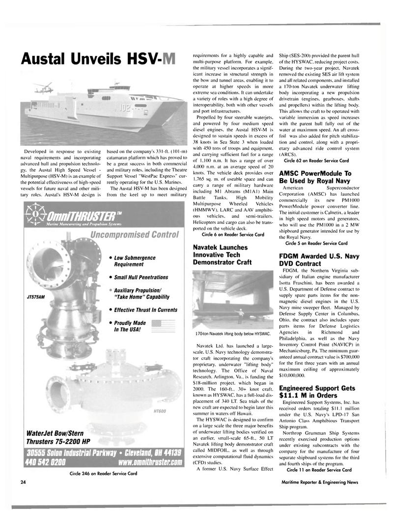 Maritime Reporter Magazine, page 22,  Jul 2003