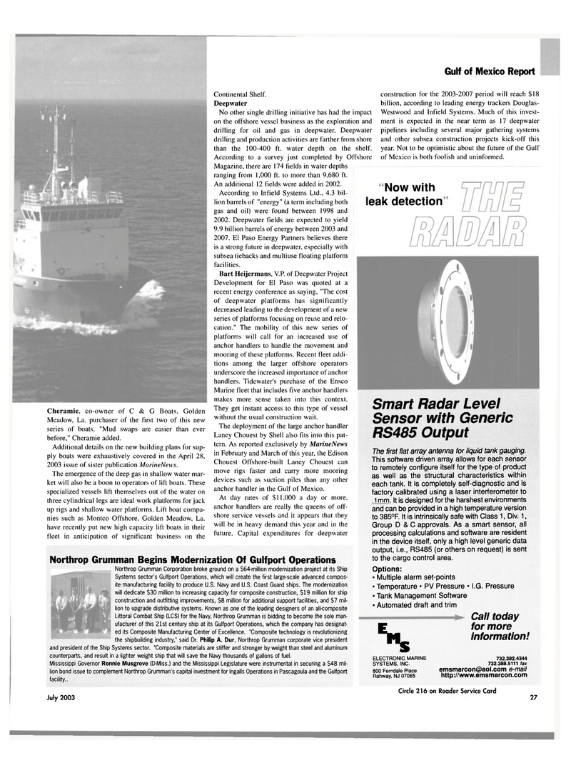 Maritime Reporter Magazine, page 25,  Jul 2003