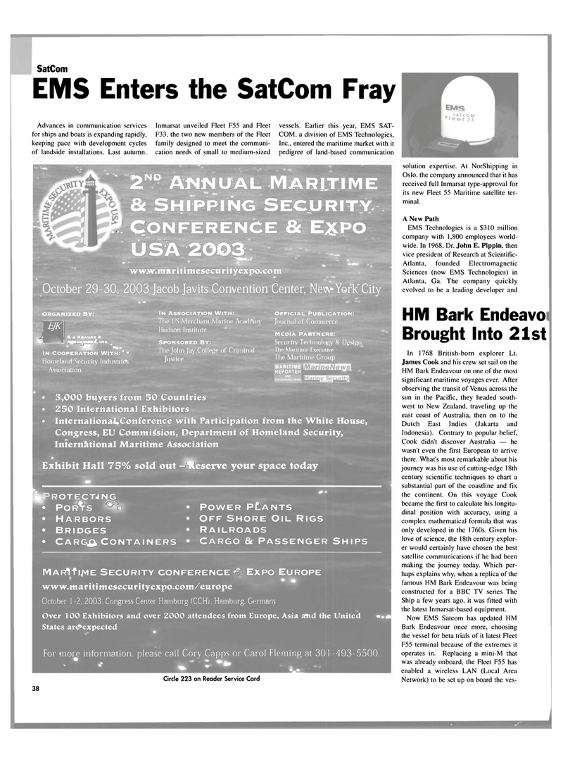 Maritime Reporter Magazine, page 36,  Jul 2003 security technology