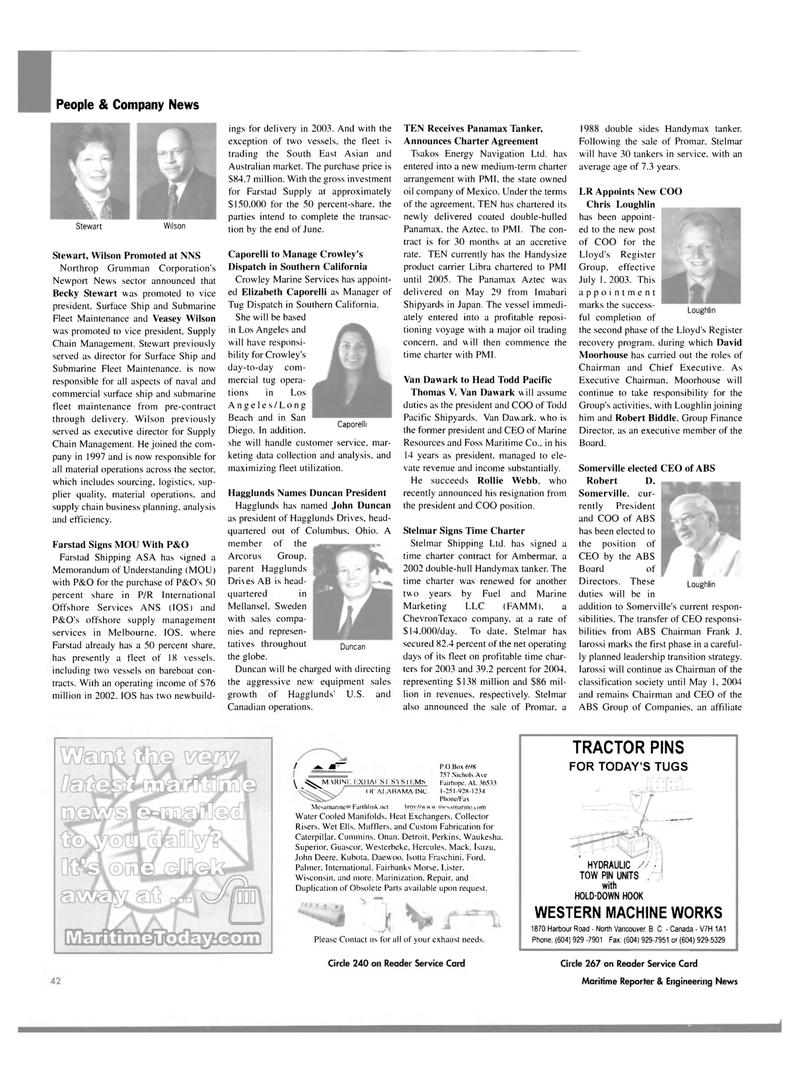 Maritime Reporter Magazine, page 40,  Jul 2003