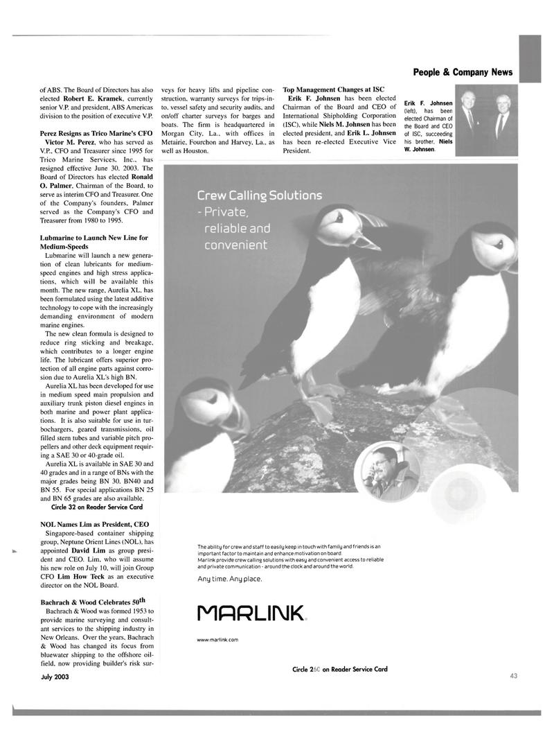 Maritime Reporter Magazine, page 41,  Jul 2003