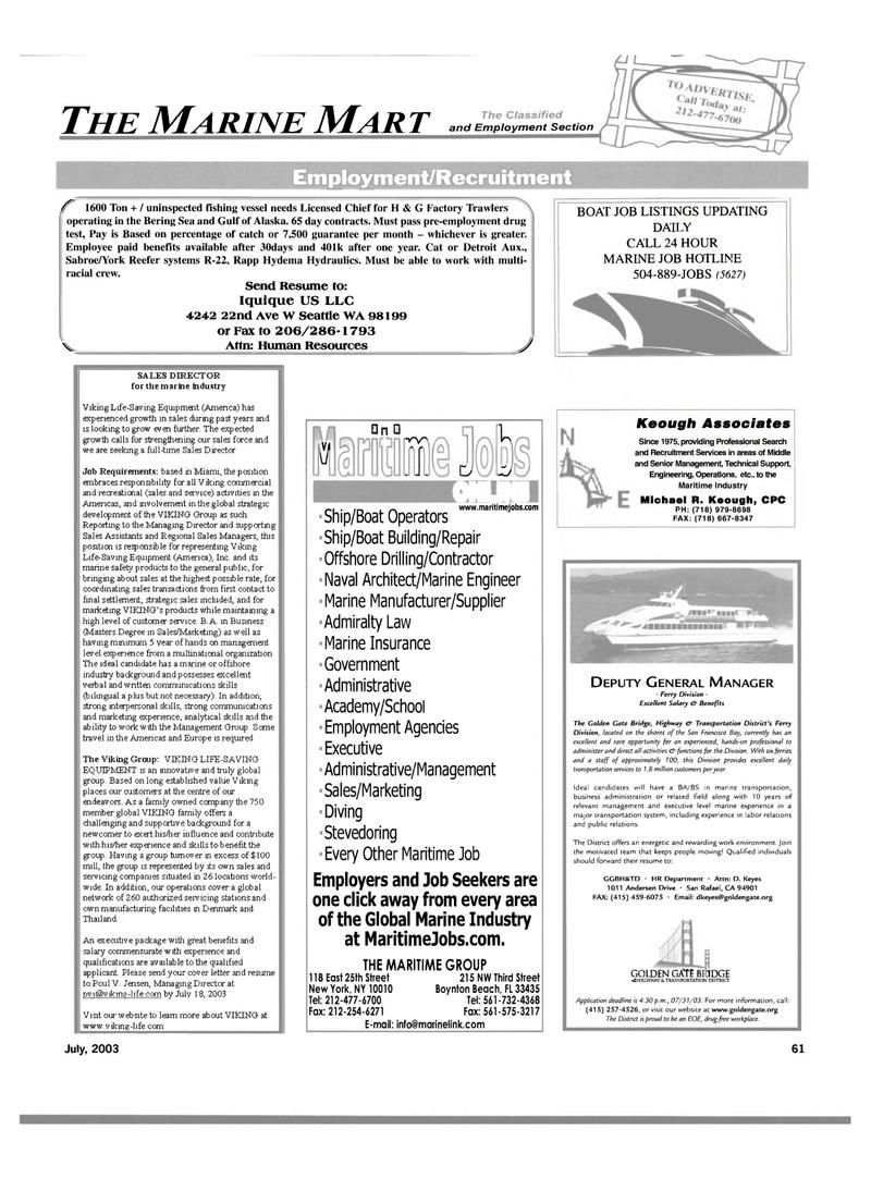Maritime Reporter Magazine, page 59,  Jul 2003