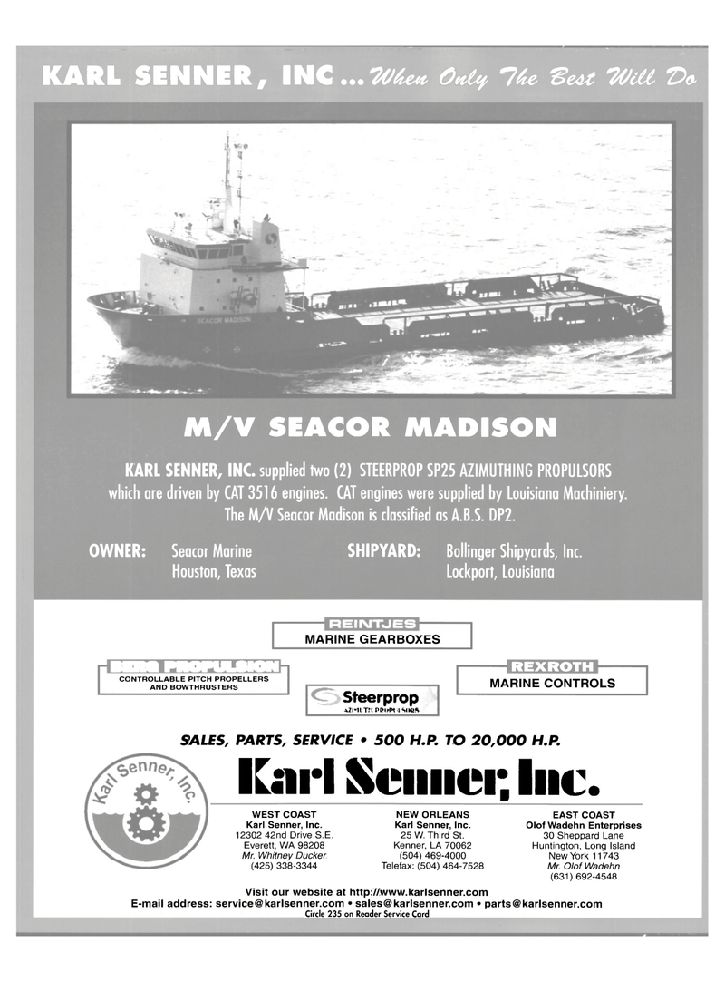 Maritime Reporter Magazine, page 4th Cover,  Jul 2003