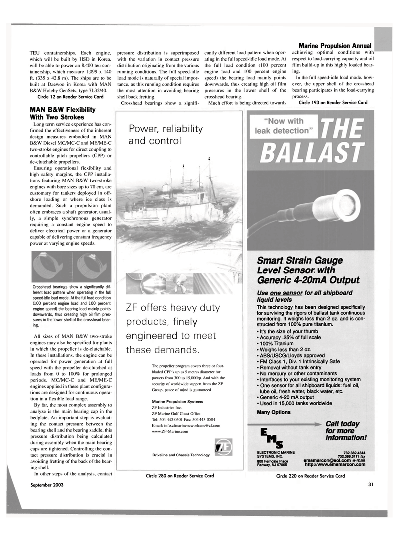 Maritime Reporter Magazine, page 31,  Sep 2003