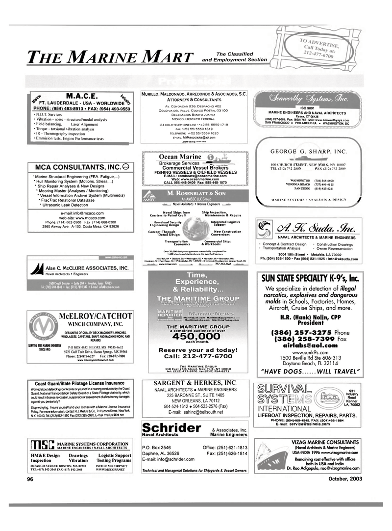 Maritime Reporter Magazine, page 98,  Oct 2003 av