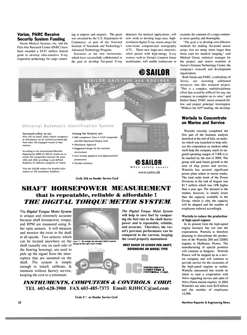 Maritime Reporter Magazine, page 24,  Oct 2003 fiber optic