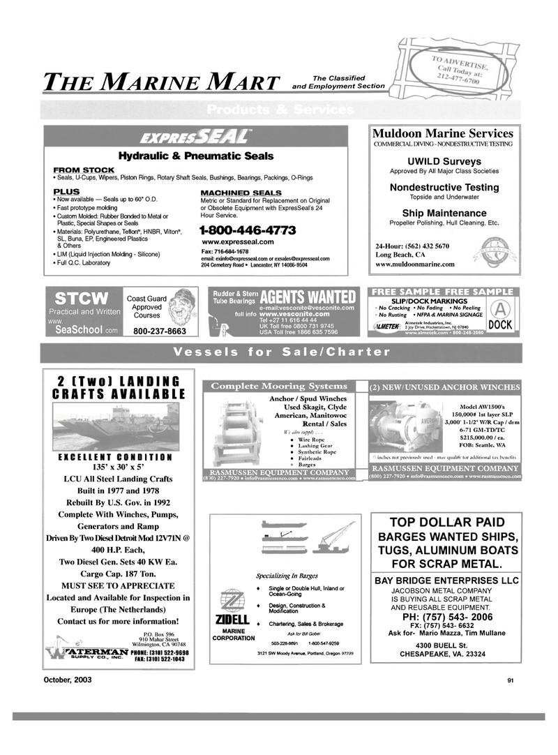 Maritime Reporter Magazine, page 93,  Oct 2003 Oregon