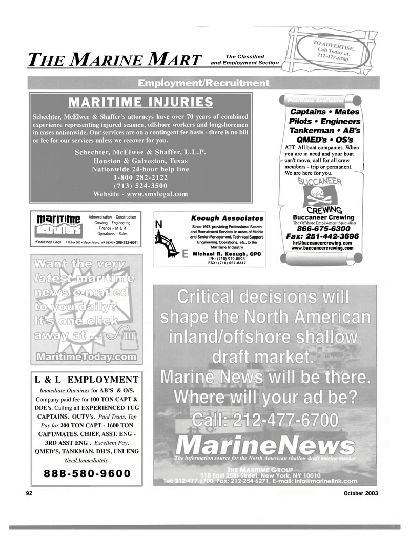 Maritime Reporter Magazine, page 94,  Oct 2003 KEOUGH ASSOCIATES