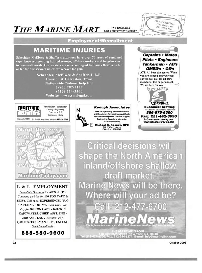 Maritime Reporter Magazine, page 94,  Oct 2003