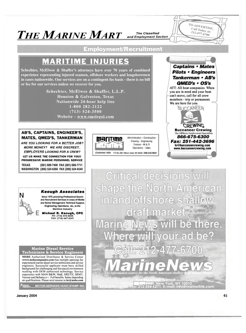 Michael R  Keough, Maritime Reporter Magazine January 2004 #61