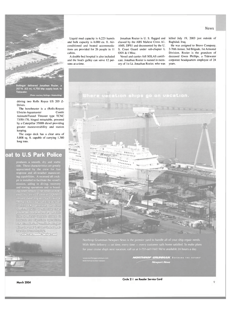 Maritime Reporter Magazine, page 9,  Mar 2004 Armored Division
