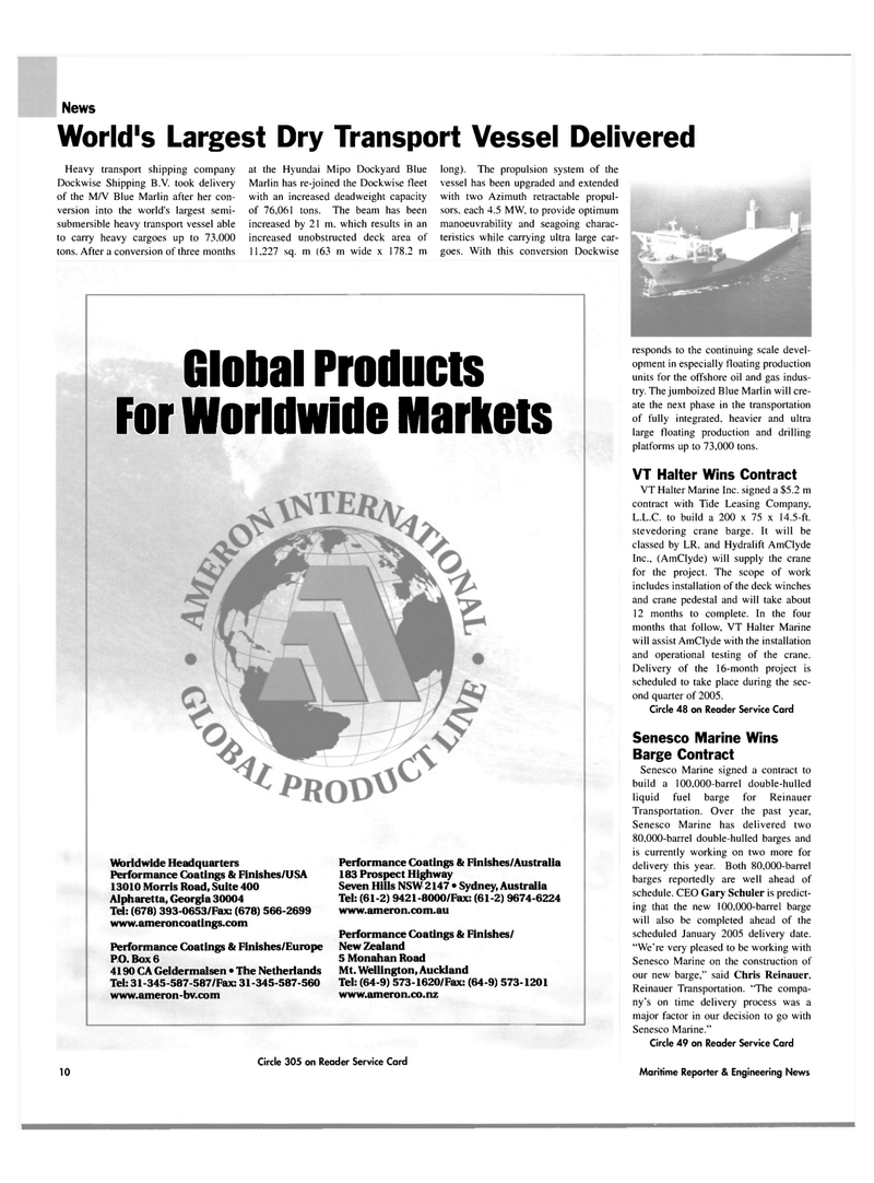 Maritime Reporter Magazine, page 10,  Mar 2004 oil and gas indus