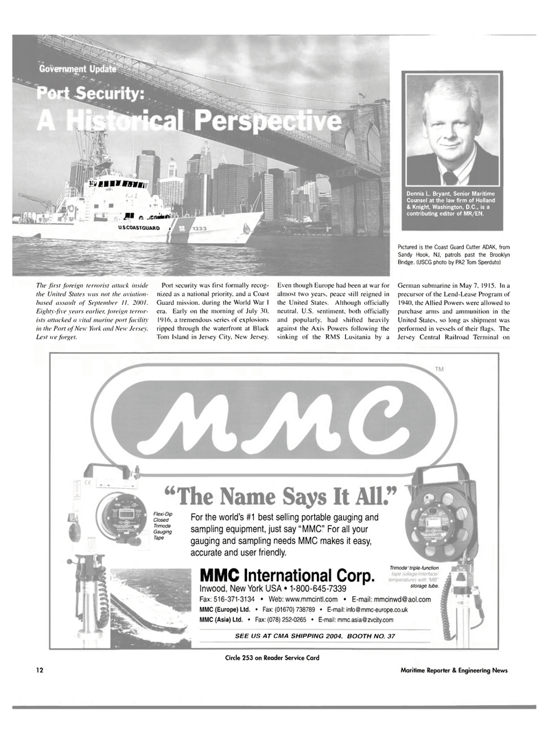 Maritime Reporter Magazine, page 12,  Mar 2004