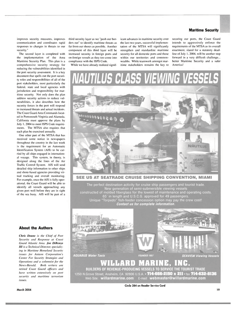 Maritime Reporter Magazine, page 19,  Mar 2004 California