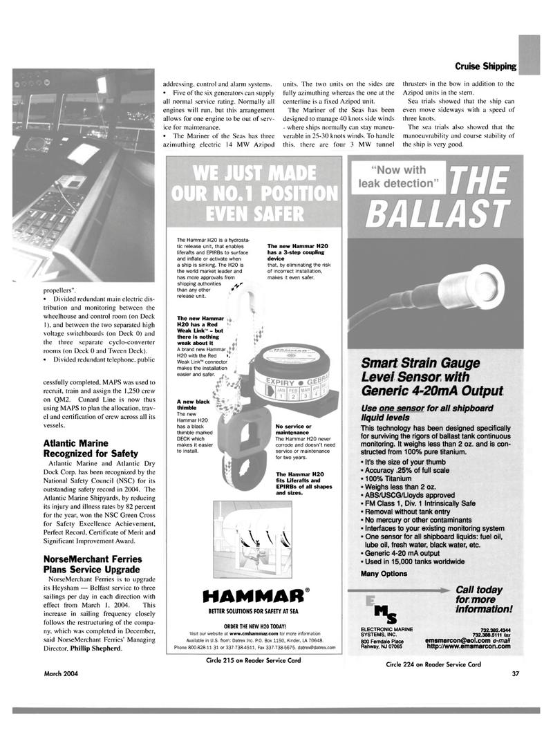 Maritime Reporter Magazine, page 37,  Mar 2004