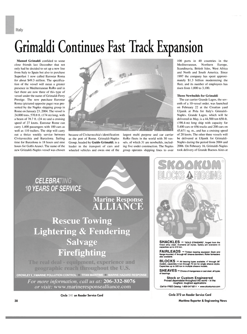Maritime Reporter Magazine, page 38,  Mar 2004 Scandinavia