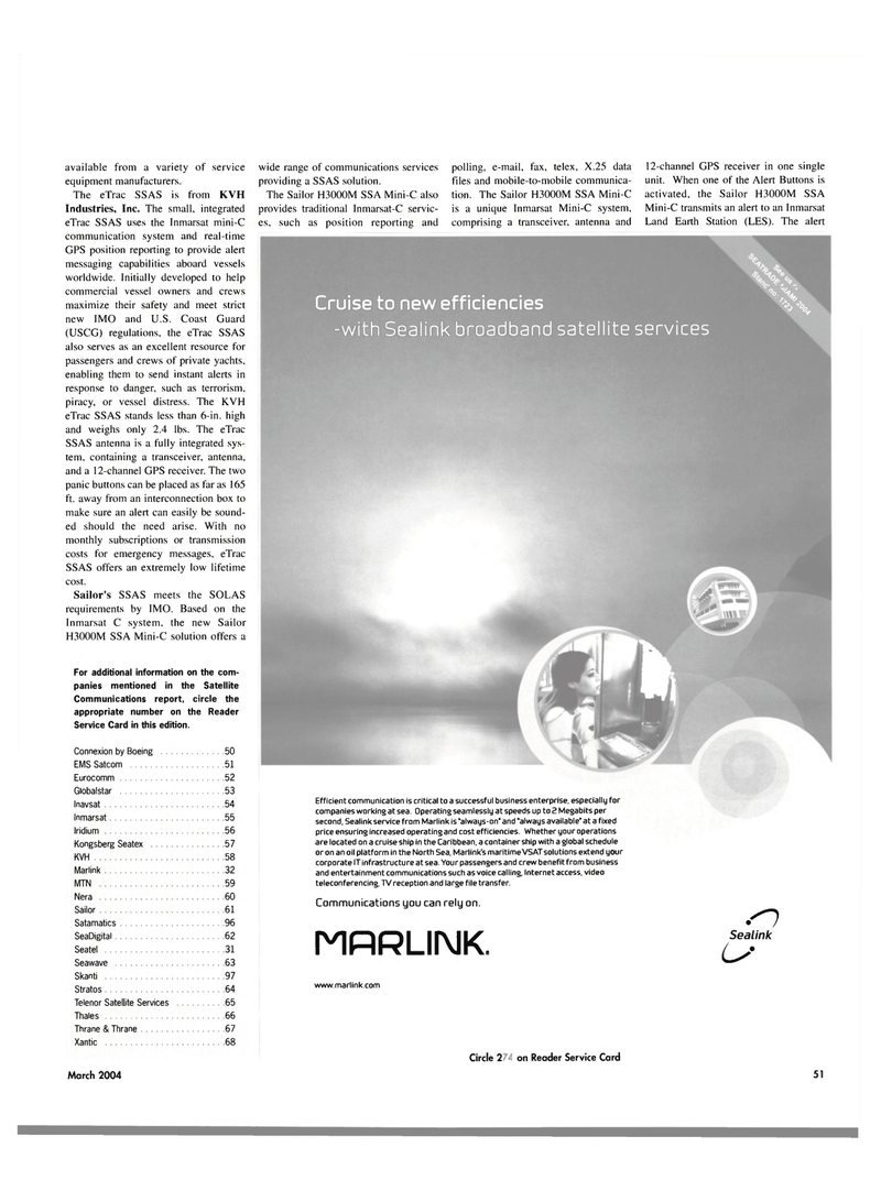 Maritime Reporter Magazine, page 4th Cover,  Mar 2004 Broadband